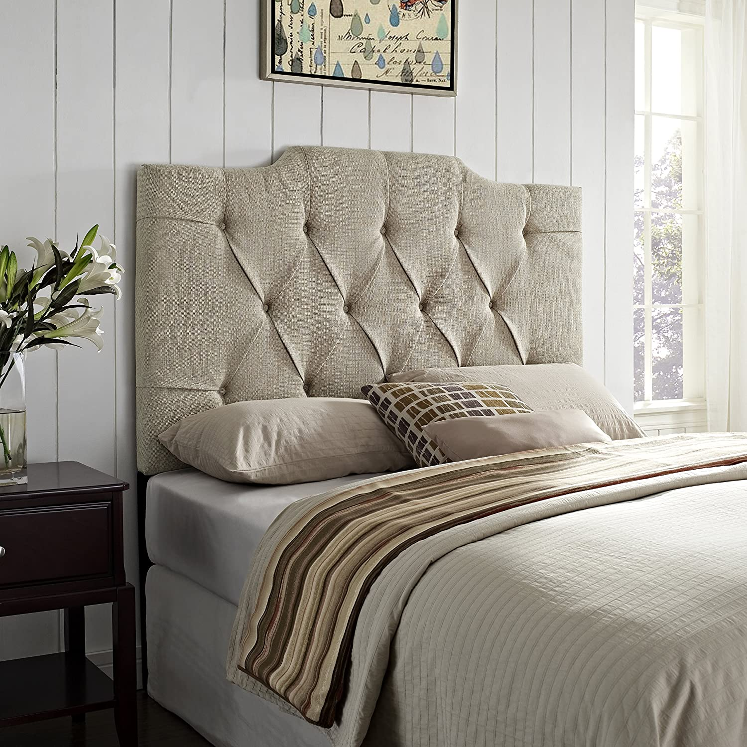 Amazon.com - Pulaski Everly Panel Tufted Linen Headboard, 6/0-6/6-Inch - - Amazon.com - Pulaski Everly Panel Tufted Linen Headboard, 6/0-6/6