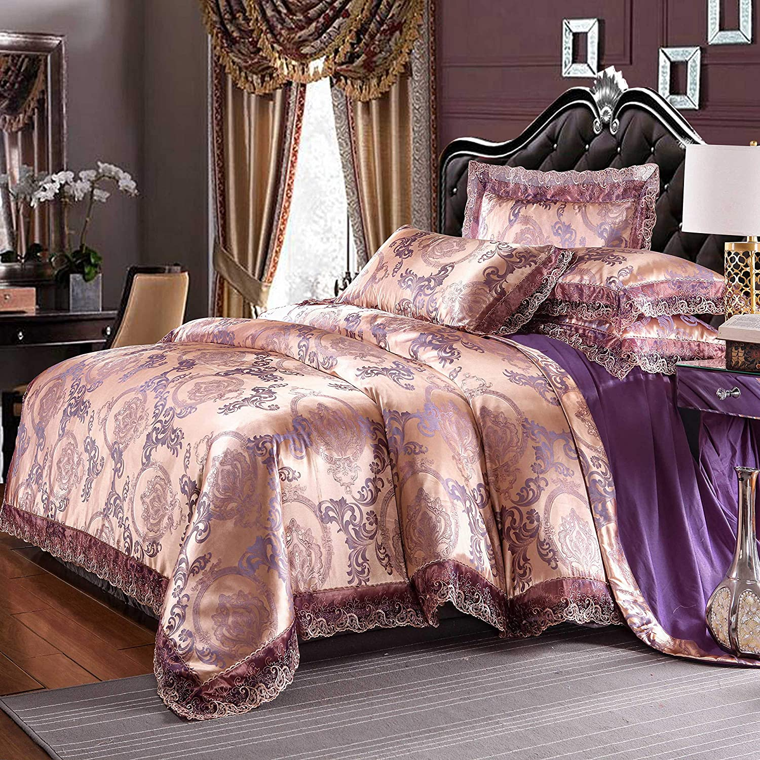 UniTendo 4 Piece Sateen Cotton Jacquard Duvet Cover Sets,Delicate Floral Pattern Bedding Sets Duvet Cover Flat Sheet and 2 Pillowcases, King Size Champagne Purple.