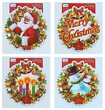Weihnachtsbilder Din A4 Kostenlos.4er Set Große Runde Weihnachtsbilder Weihnachtliche Fensterbilder Weihnachtsdeko Fensterdekoration Wiederverwendbar