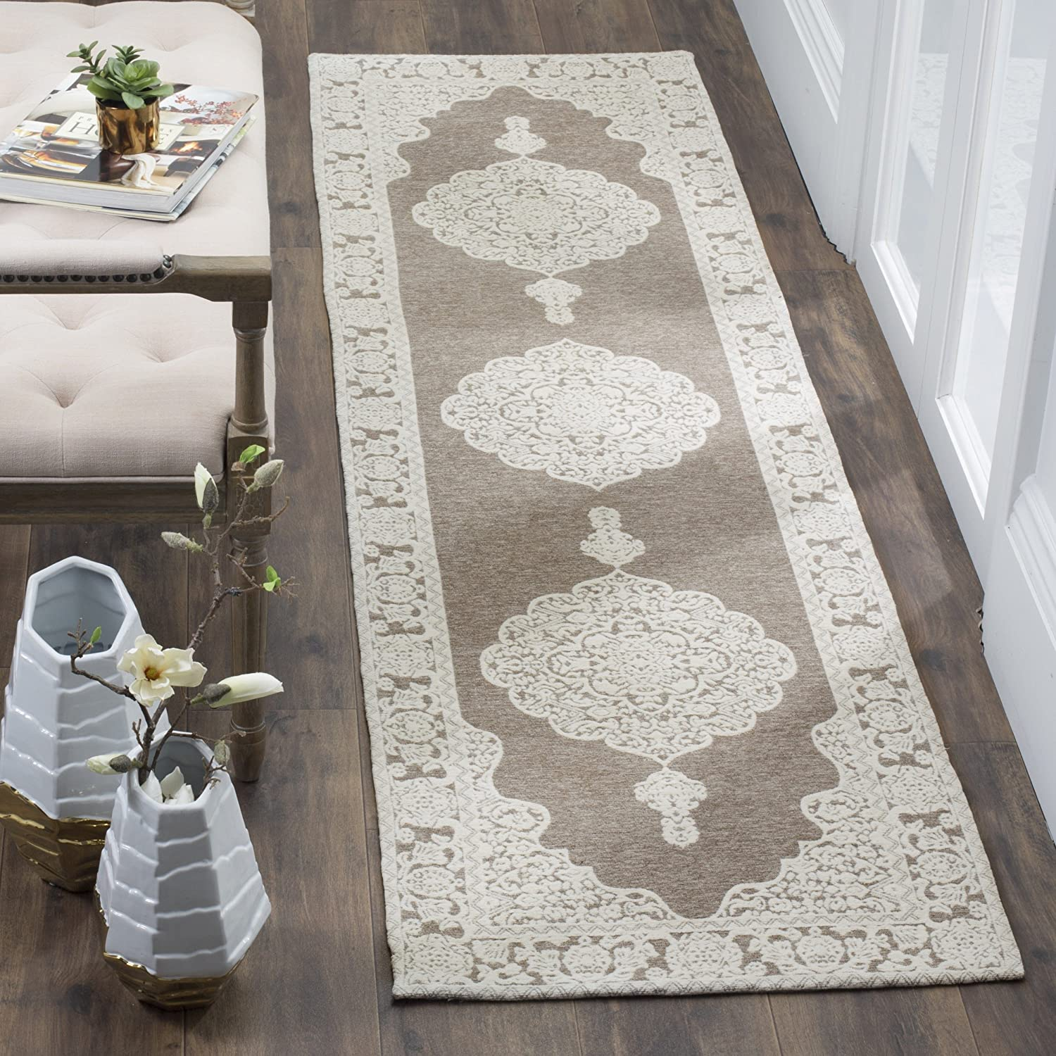 Safavieh Marbella Collection MRB615A Flat Weave Light Grey and Ivory Runner (23