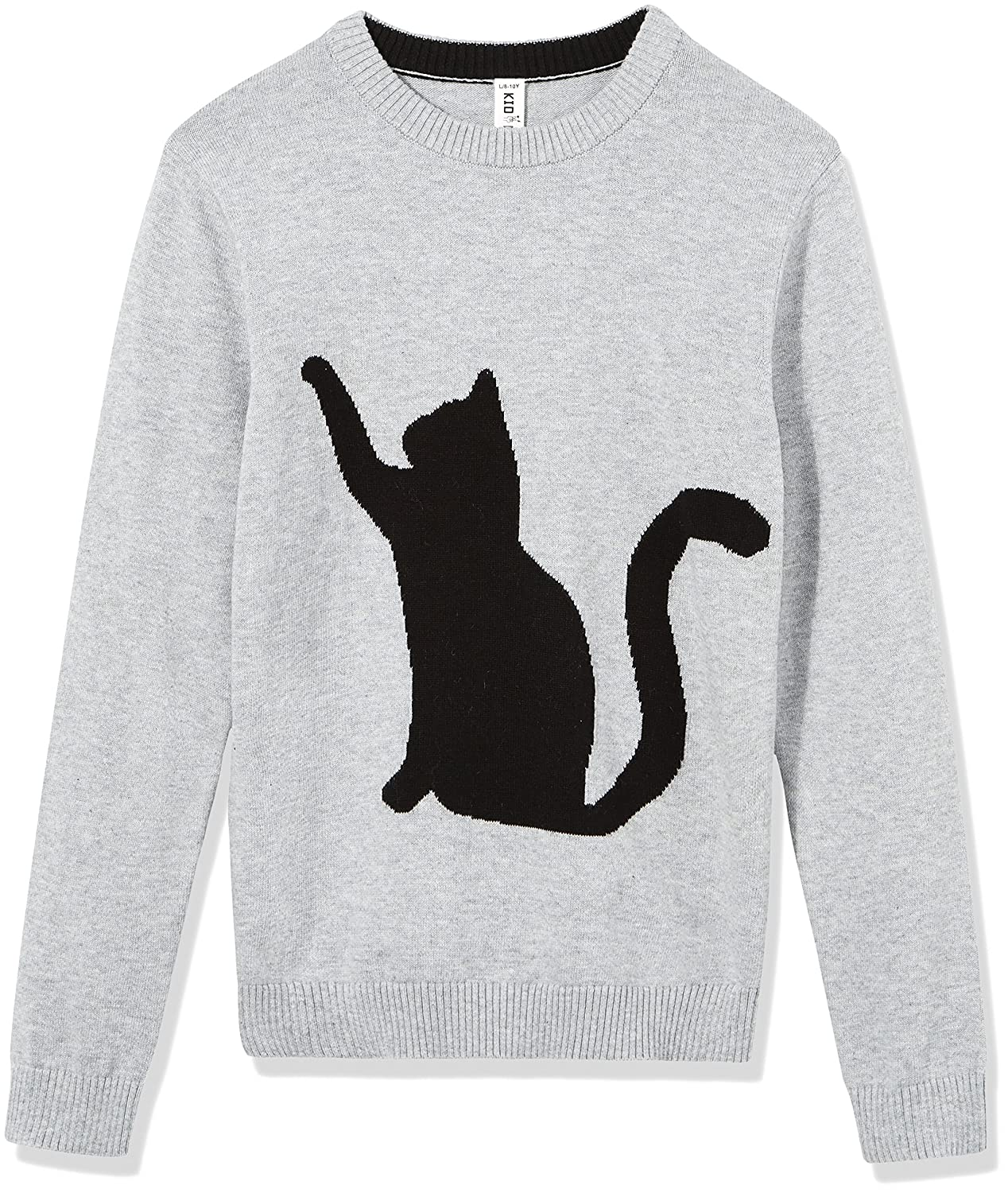 Kid Nation Kids' Sweater Long Sleeve Crew Neck Pullover with Cat Jacquard Cotton Knit Sweater for Boys or Girls