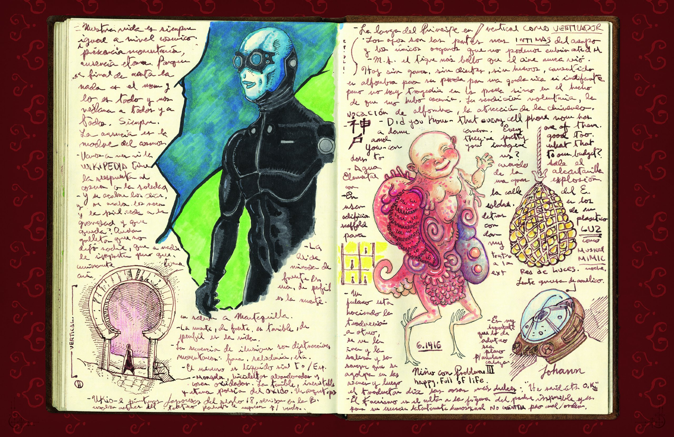 One of the pages of a notebook of Guillermo del Toro