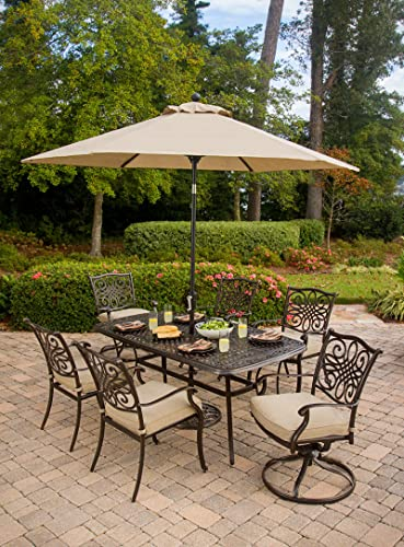 Hanover TRADITIONS7PCSW-SU Furniture 7 Piece Traditions Deep Cushioned Umbrella Outdoor Patio Dining Set, Tan
