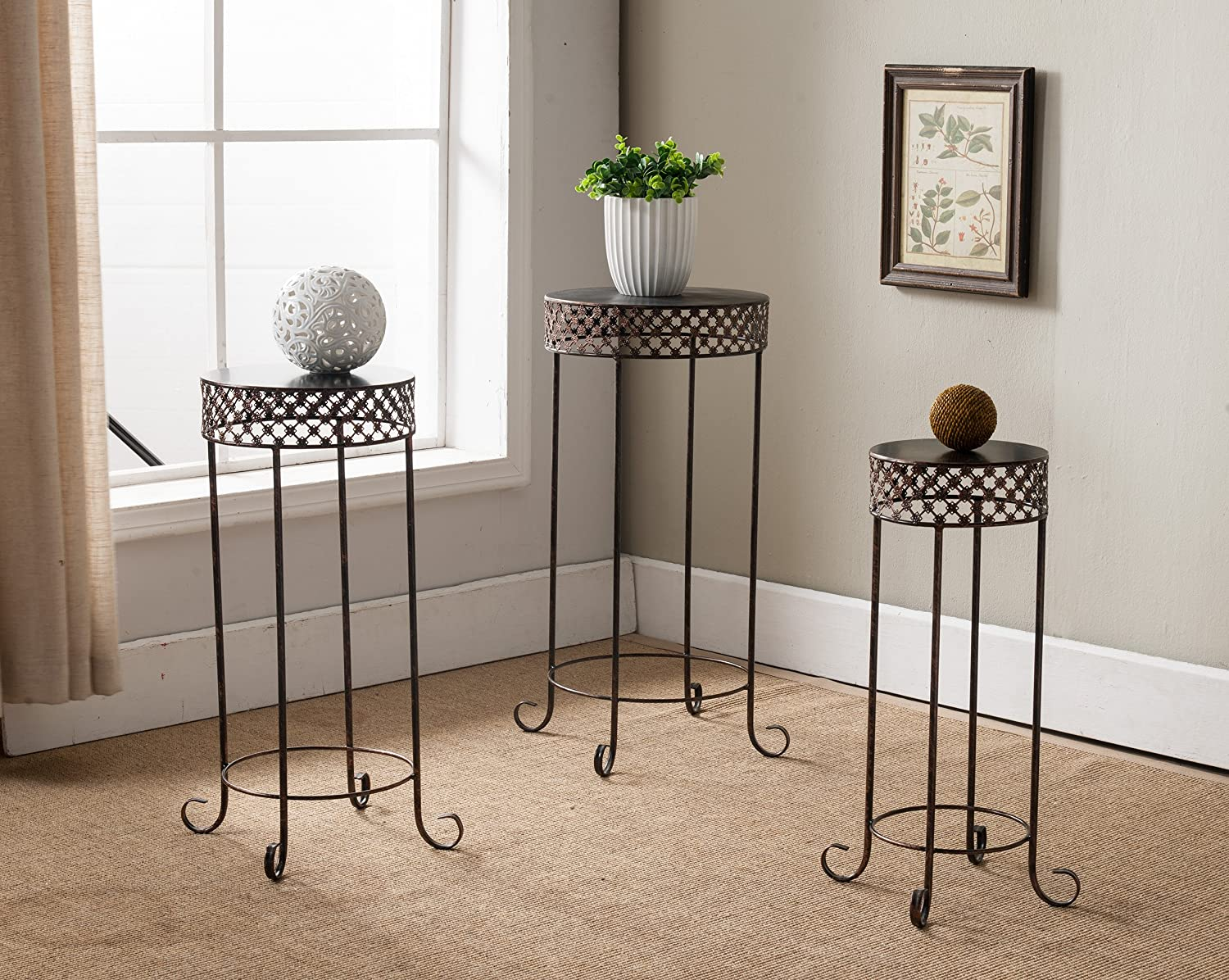 Kings Brand Furniture 3-Piece Metal Side End Table Plant Stand