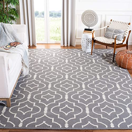 Safavieh Dhurries Collection DHU637B Hand Woven Grey and Ivory Premium Wool Area Rug 5 x 8