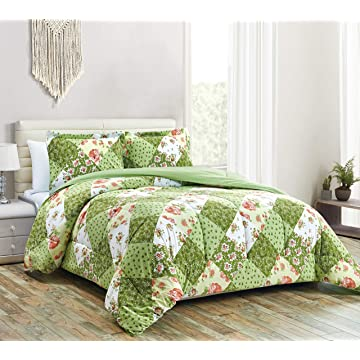 Townhouse Collection Lily 3-Piece Microfiber Reversible Down Alternative Comforter Set (King, Sage-03)