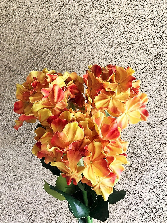 FRP Flowers XL ラテックス リアルタッチ アジサイ 造花 茎 フローラルアレンジメント、アート&クラフト用 (3個パック) B07GX2YCFT サンセットオレンジ(Sunset Orange)
