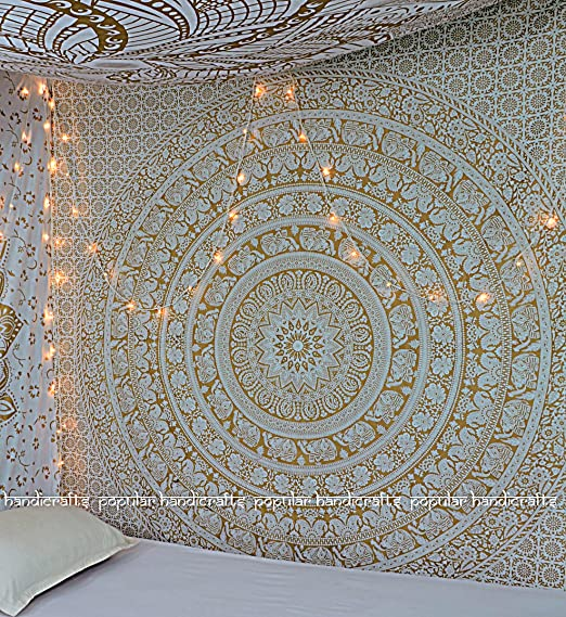White Gold Popular Handicrafts Kp649 Large Moon Ombre Gold Tapestry Indian Mandala Wall Art Hippie Wall Hanging Bohemian Bedspread Multi Purpose Tapestries 84x90 Inches