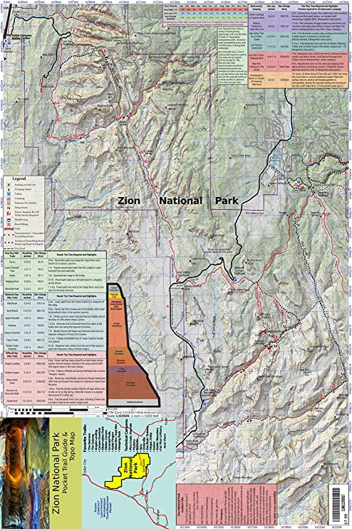 Amazon.com : Zion National Park Pocket Trail Guide & Topo Map (12x18 ...