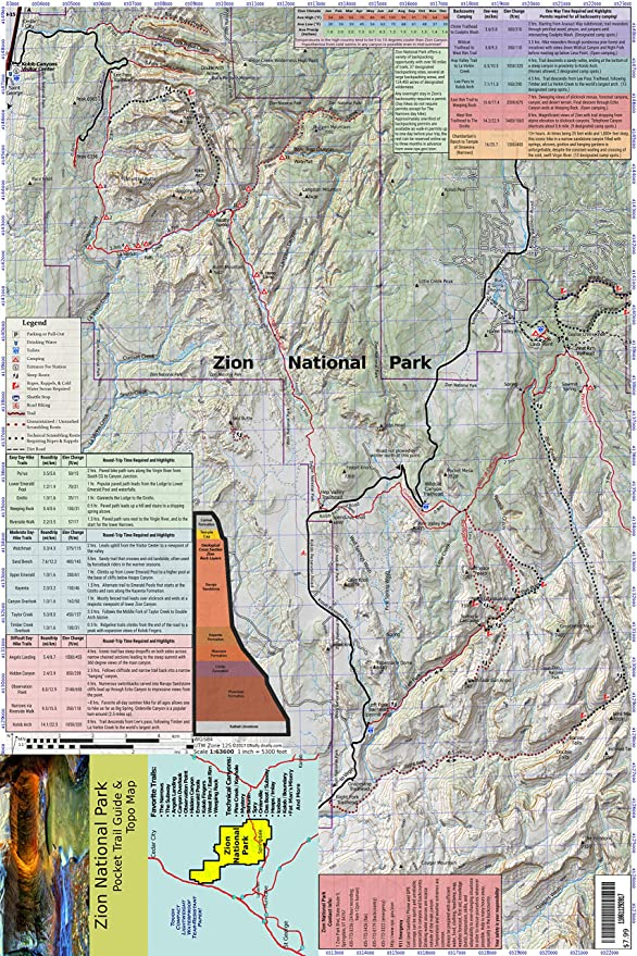 Amazon.com : Zion National Park Pocket Trail Guide & Topo Map (12x18 on