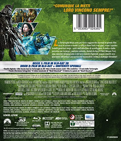 Tartarughe Ninja 3D Blu-Ray 3D + Blu-Ray Italia Blu-ray ...