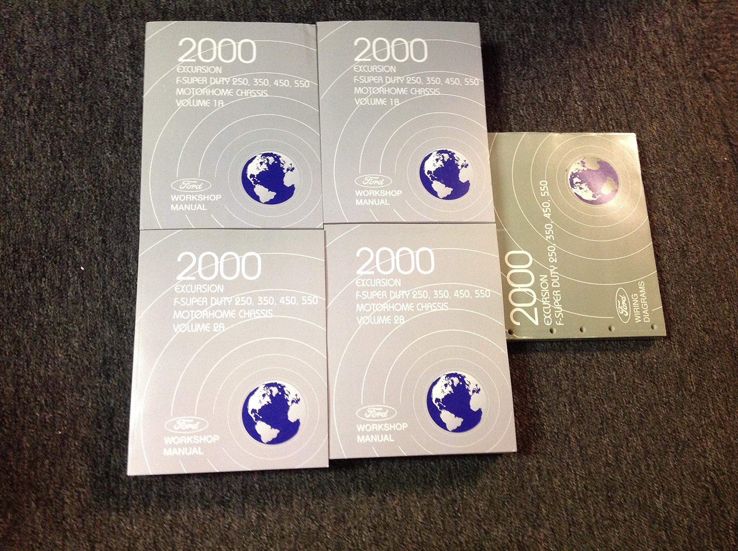 2000 ford truck excursion f250 350 450 550 service shop repair manual set  new w ewd paperback – 2000