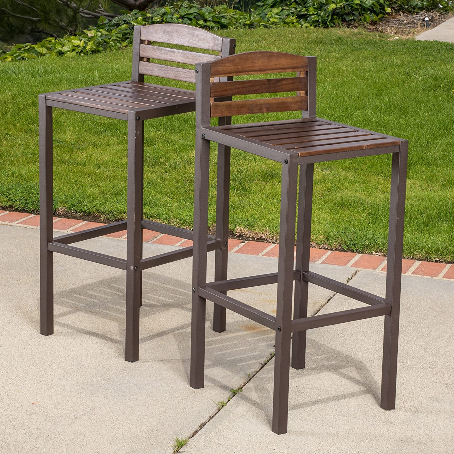 Amazon.com: Bistro Bar, Modern/Rustic Brown Outdoor 3 Piece Milos Set  (296852). Made With Durable Acacia Wood And Framed With Powder Coated Iron.