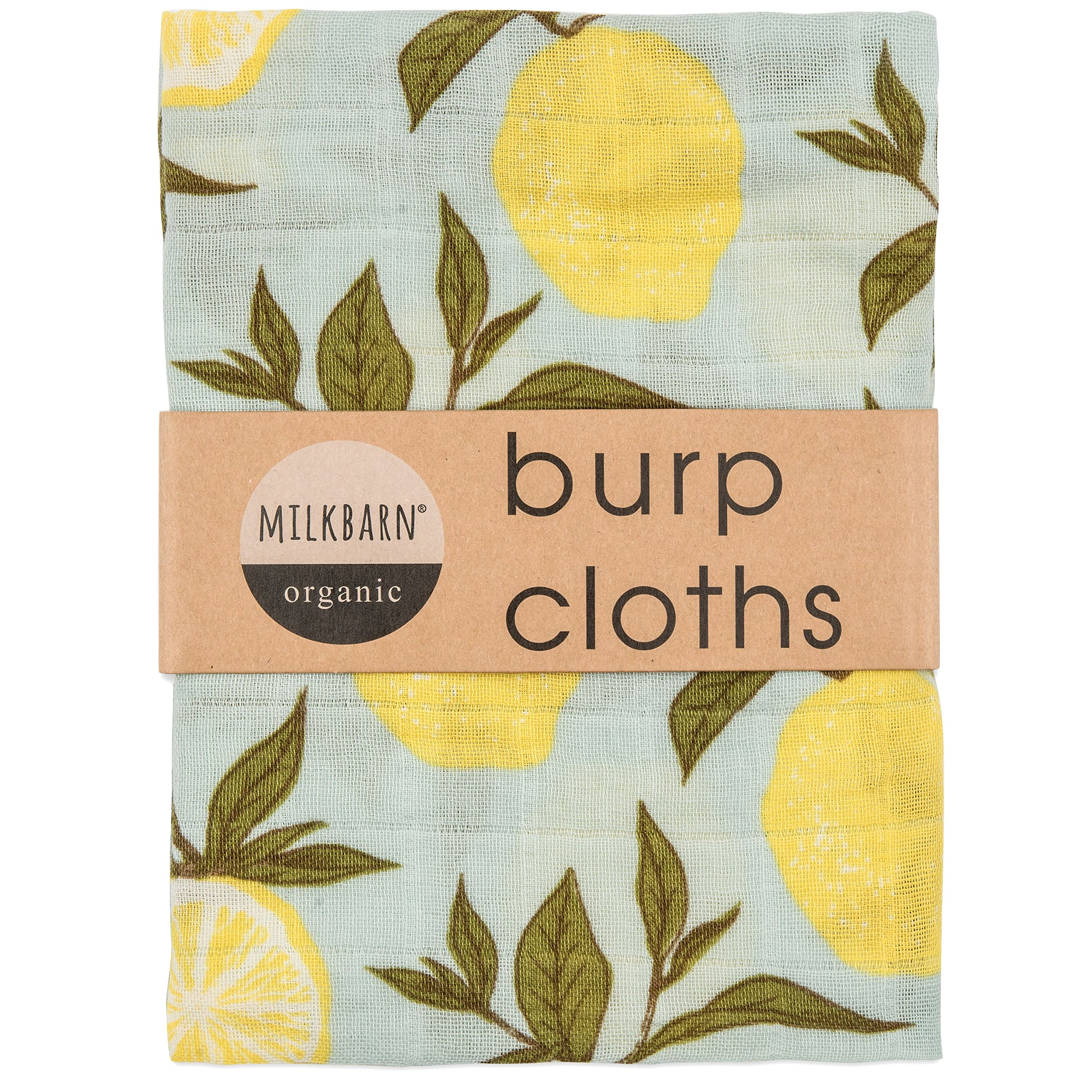 Milkbarn Organic Cotton Burp Cloths (2 pack) (Blue lemon), 23''x23'' by MilkBarn