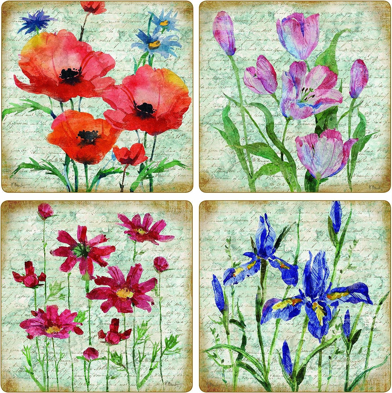 CoasterStone Poetic Garden Absorbent Coasters, 4-1/4-Inch, Set of 4