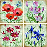CoasterStone AS10027 Poetic Garden Absorbent Coasters, 4-1/4-Inch, Set of 4