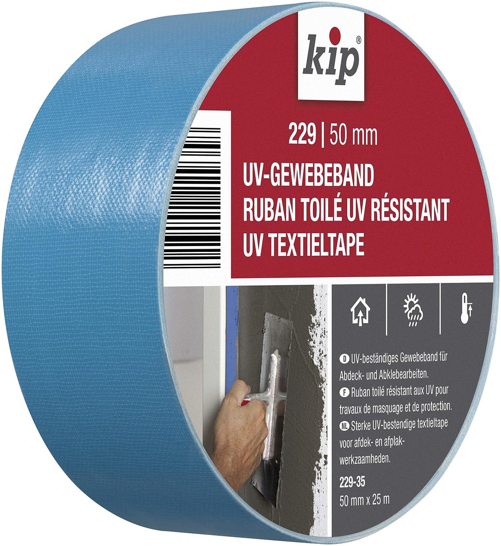 Kip Dimensions : 50mm x 25m Couleur bleu Ruban adh/ésif en tissu mesh pour les travaux de masquage en int/érieur et en ext/érieur Ruban toil/é r/ésistant aux UV 229-35