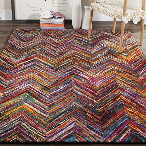 Safavieh Aruba Collection ARB505M Modern Abstract Art Chevron Multicolored Area Rug 8 x 10