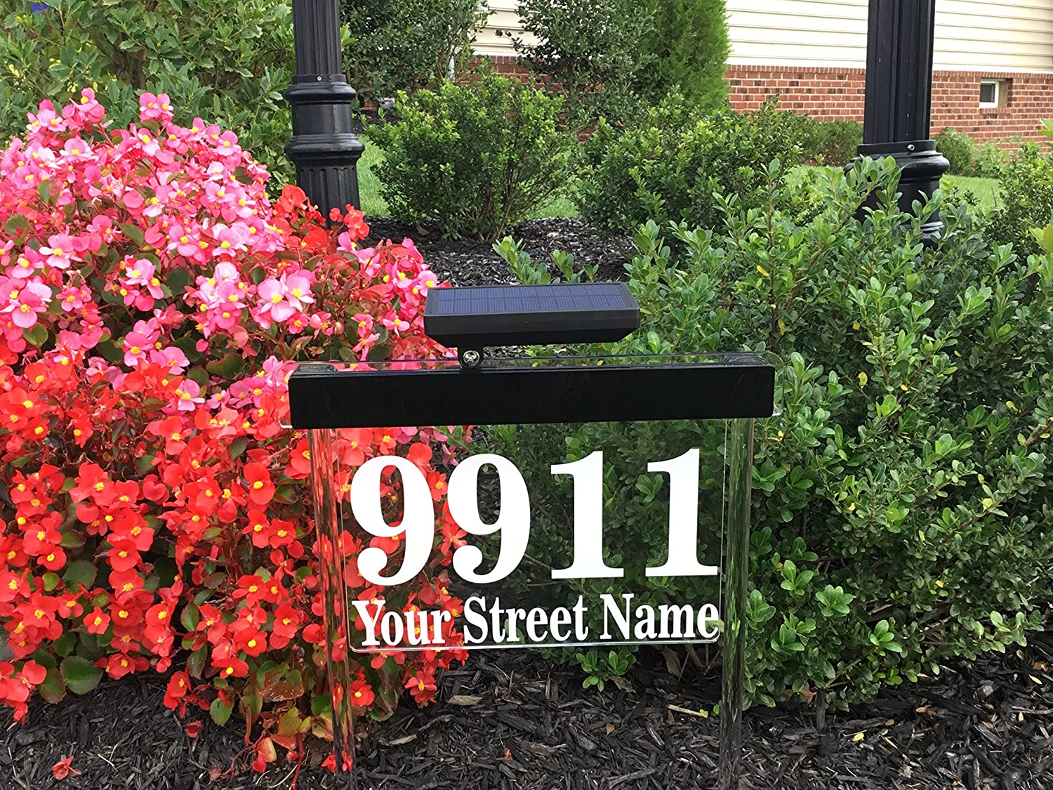 Custom Solar Address Sign - Bright Solar Lighted House Address Sign, Helps Emergency Vehicles And Guests Find Your Home (Green)