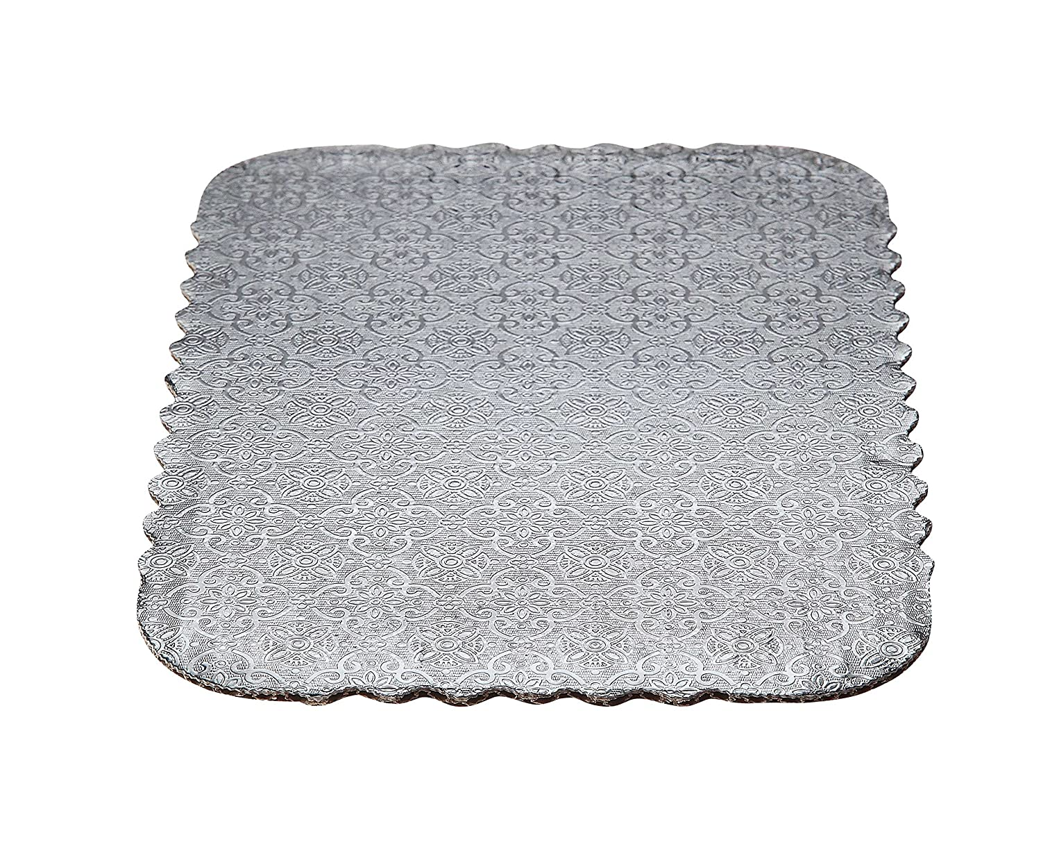 Image of Cake & Pizza Circles W PACKAGING WPSD43100 Full Sheet (26x18) Silver Double Wall Scalloped Edge Cake Pad, Corrugated with Coated Embossed Foil Paper (Pack of 50)