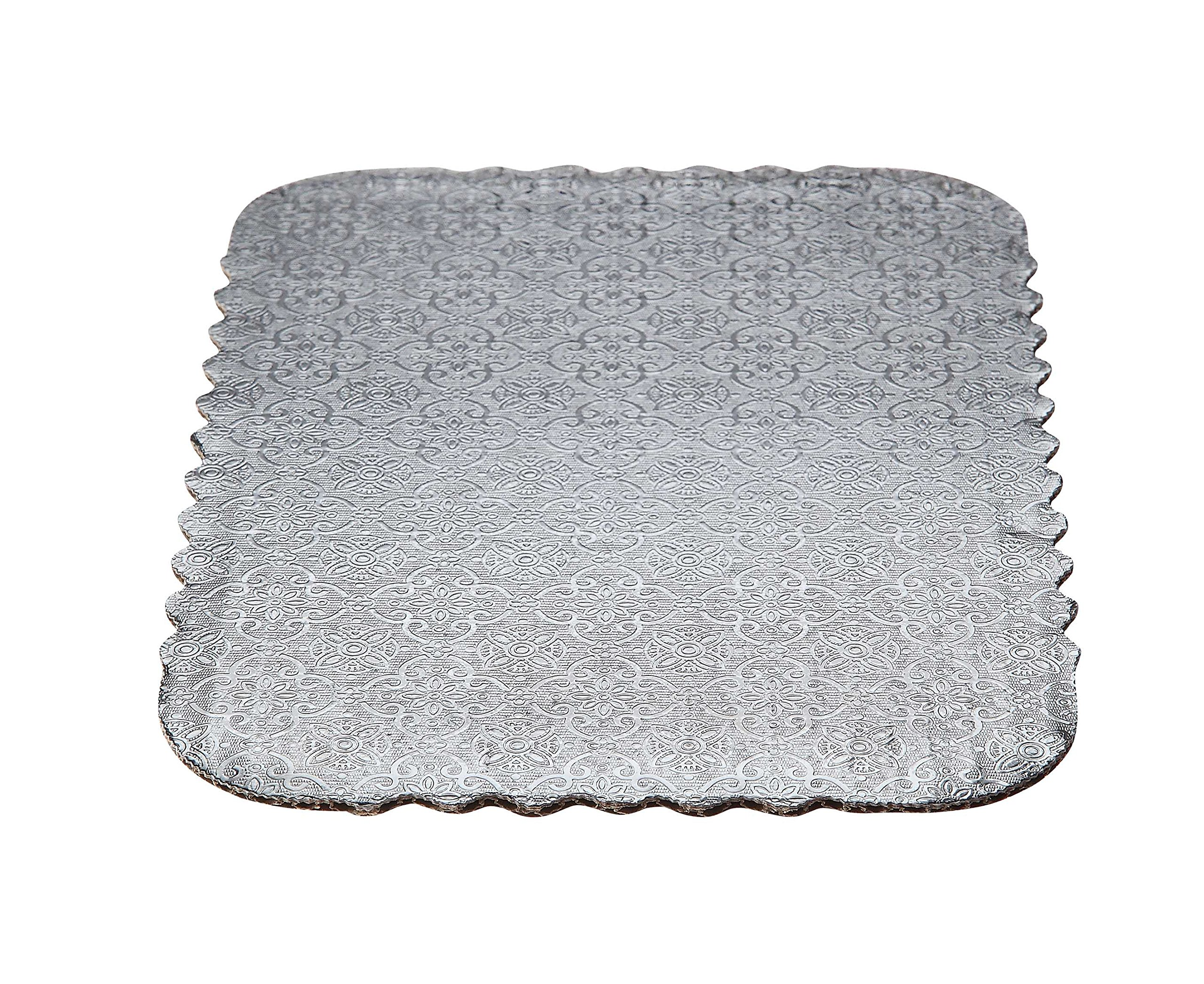 W PACKAGING WPSD4325 1/4 Sheet (13.5x9) Silver Double Wall Scalloped Edge Cake Pad, Corrugated with Coated Embossed Foil Paper (Pack of 50)