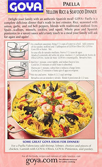 Amazon goya paella yellow rice seafood dinner pack of 01 amazon goya paella yellow rice seafood dinner pack of 01 soups stews and stocks grocery gourmet food forumfinder Image collections