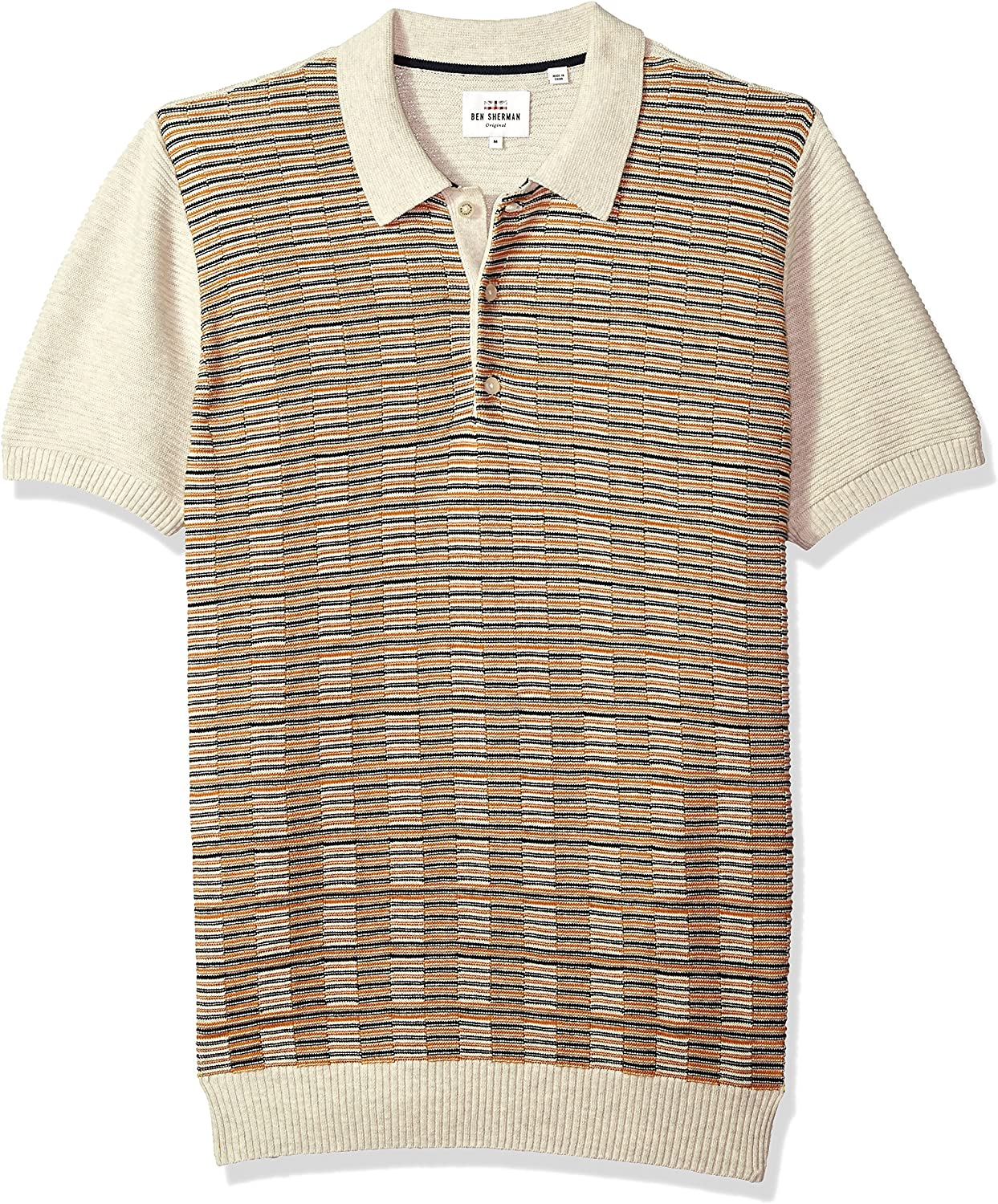 Ben Sherman Hombres ME18S48933 Manga Corta Camisa Polo - Beige ...