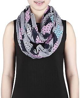 410056fcc709 Eg-Fashion Großer Damen Loopschal mit unifarbenen und gepunkteten  Rechtecken - Polyester Schlauchschal
