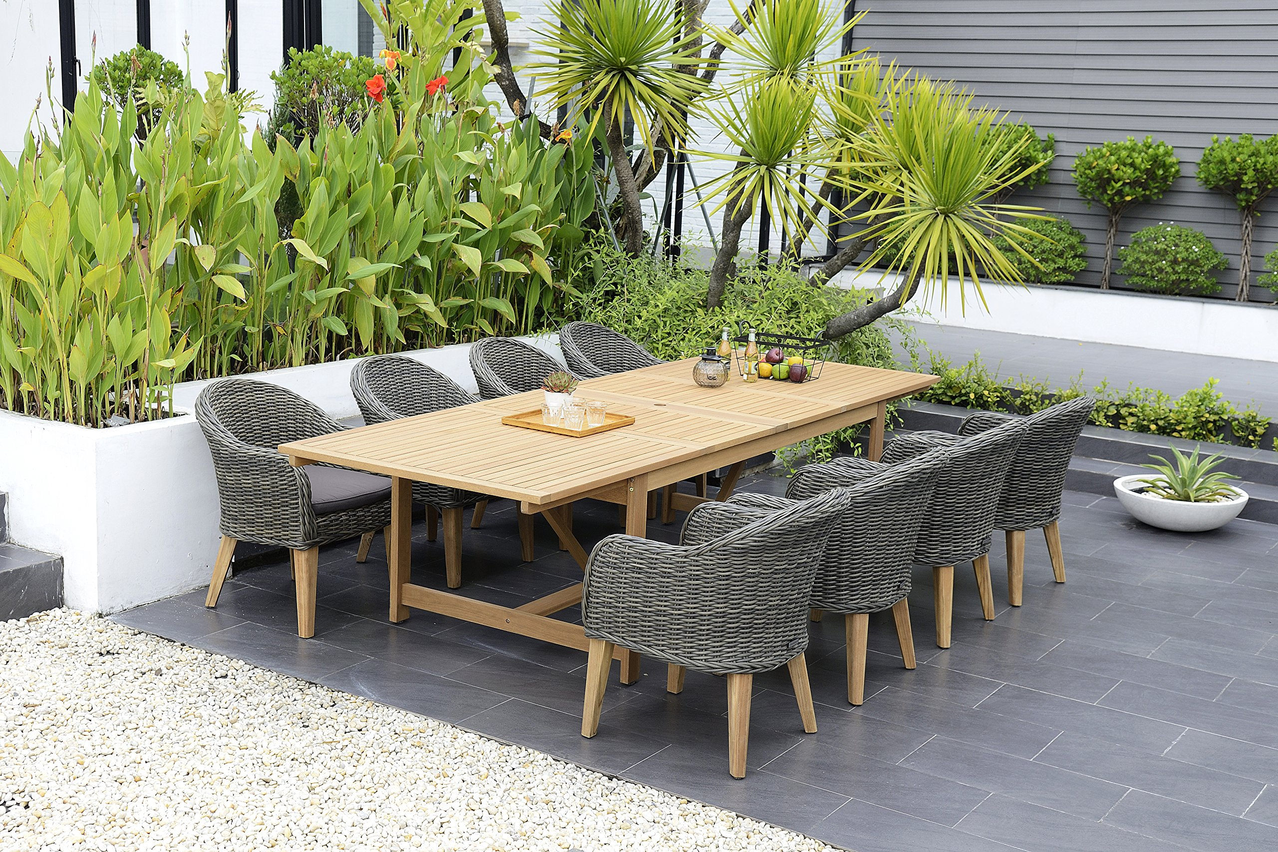 Brampton 9 Piece Outdoor Eucalyptus/Wicker Extendable Dining Set | Perfect for Patio | with Teak Finish, Brown - Perfect outdoors: 9 Piece patio Dining furniture set, ideal for patios, backyards, gardens, balconies, Poolside and more. Dimensions: Table Dimensions 79L x 42W x 30H Extended Length 118. Chair Dimensions 26L x 22W x 33H Seating Dimensions 20L x 19W x 17H. Table Material: 100% FSC certified High Quality Eucalyptus Wood (Eucalyptus Grandis) with teak finish. Chairs Material: Wicker seat, teak wood frame, and galvanized steel hardware. Its resistance to weather and UV radiation makes the set durable and enjoyable. - patio-furniture, dining-sets-patio-funiture, patio - A1aJlFdCs8L -