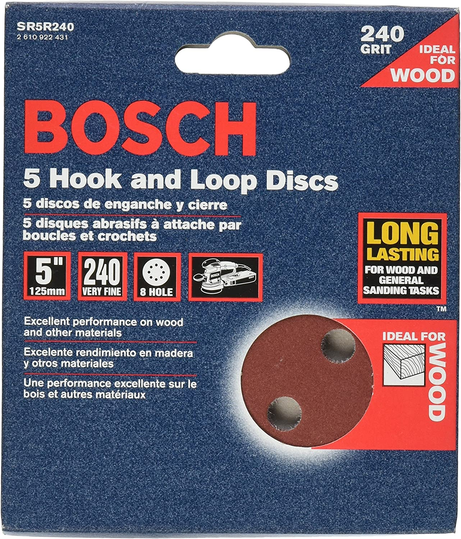 Bosch SR5R240 5-Piece 240 Grit 5 In 8 Hole Hook-And-Loop Sanding Discs