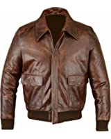 Fivestar.Leather Men's Air Force A-2 Leather Flight Bomber Jacket - Brown