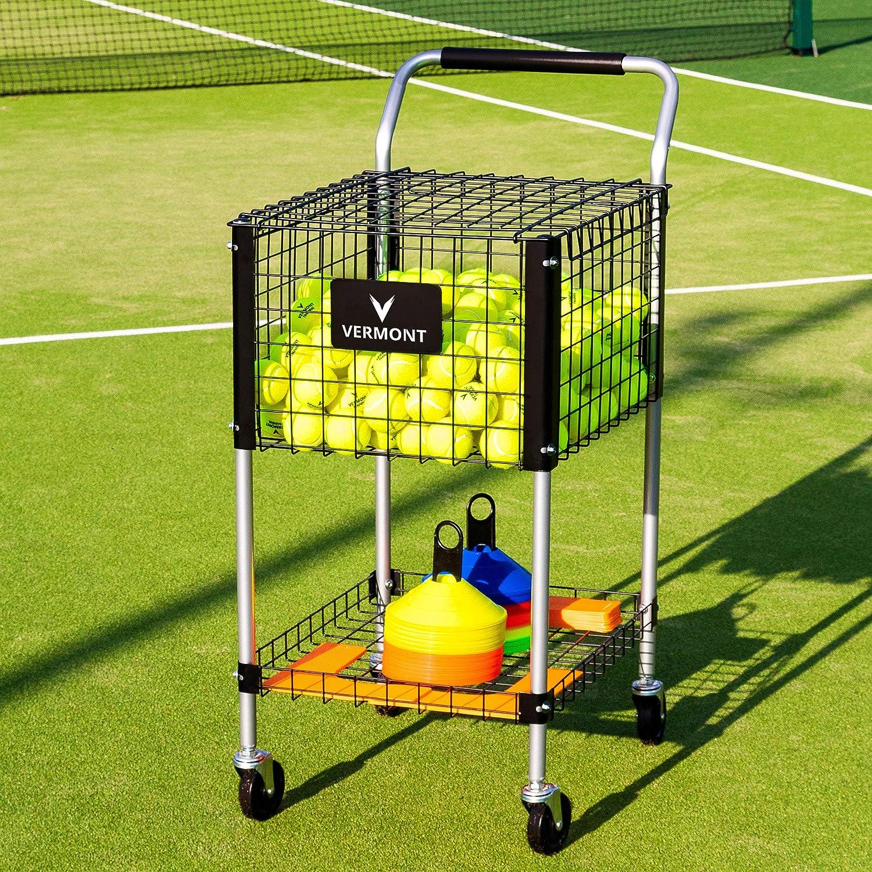 Unterricht Tennis Ball Cart | Trä gt bis zu 325 Tennis Bä lle | Haltbarer Aluminium Rahmen | Verfü gt ü ber einen abschließ baren Deckel & Speicher Tablett | 4 SchwerLast Rä der Net World Sports