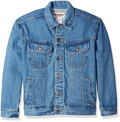 564228d36479a Wrangler Men s Classic Denim Jacket-Motorcycle Edition at Amazon Men s  Clothing store