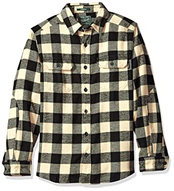 373825db7 Woolrich Men's Oxbow Bend Flannel Shirt Modern Fit, Black/White, Small