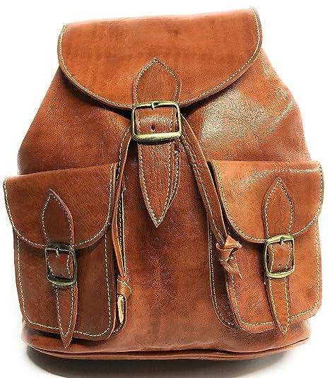 Mochila De Piel Color Marron 100 % PIEL (MARRON CLARO): Amazon.es: Zapatos y complementos