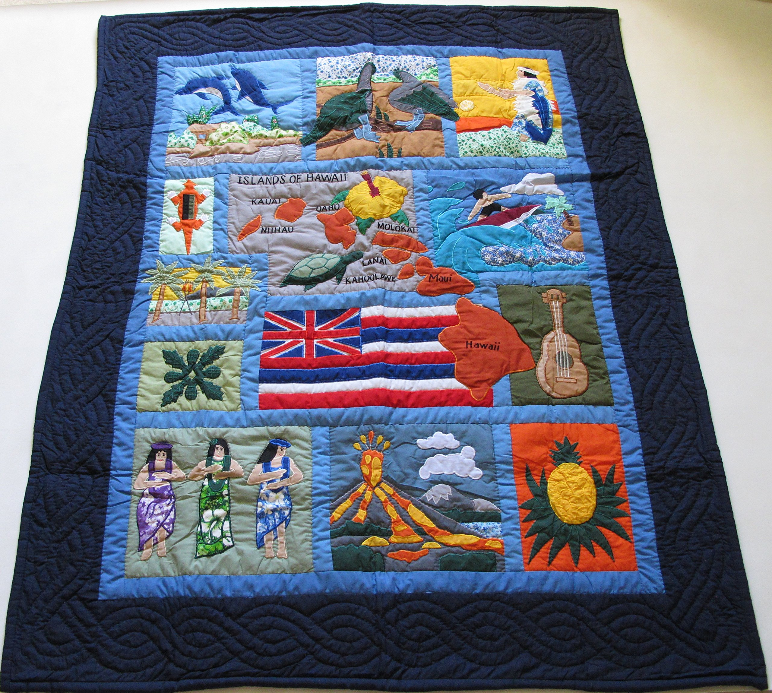 Hawaiian Quilt Baby Crib Blanket, Comforter, Wall Hanging, Hand Quilted and Machine Embroidered