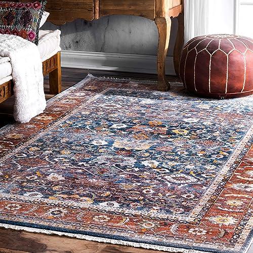 nuLOOM Betty Floral Fringe Area Rug, 5 x 7 9 , Blue