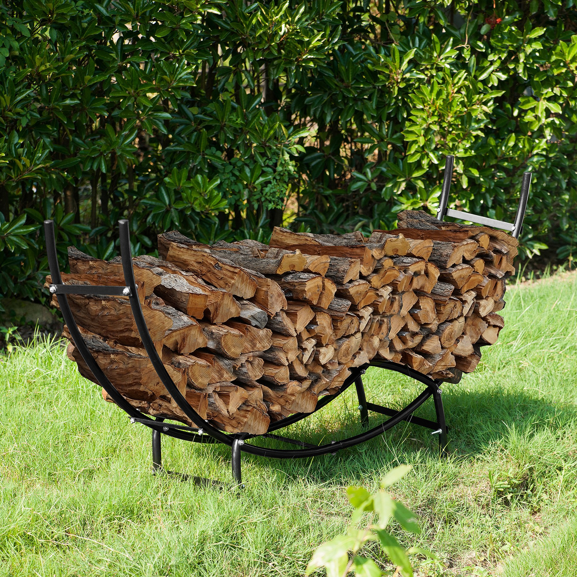1910 Earth Worth | Firewood Curved Log Rack | 5 FT | Black by Earth Worth