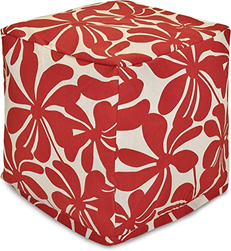 Majestic Home Goods Red Plantation Indoor Outdoor Bean Bag Ottoman Pouf Cube 17 L x 17 W x 17 H