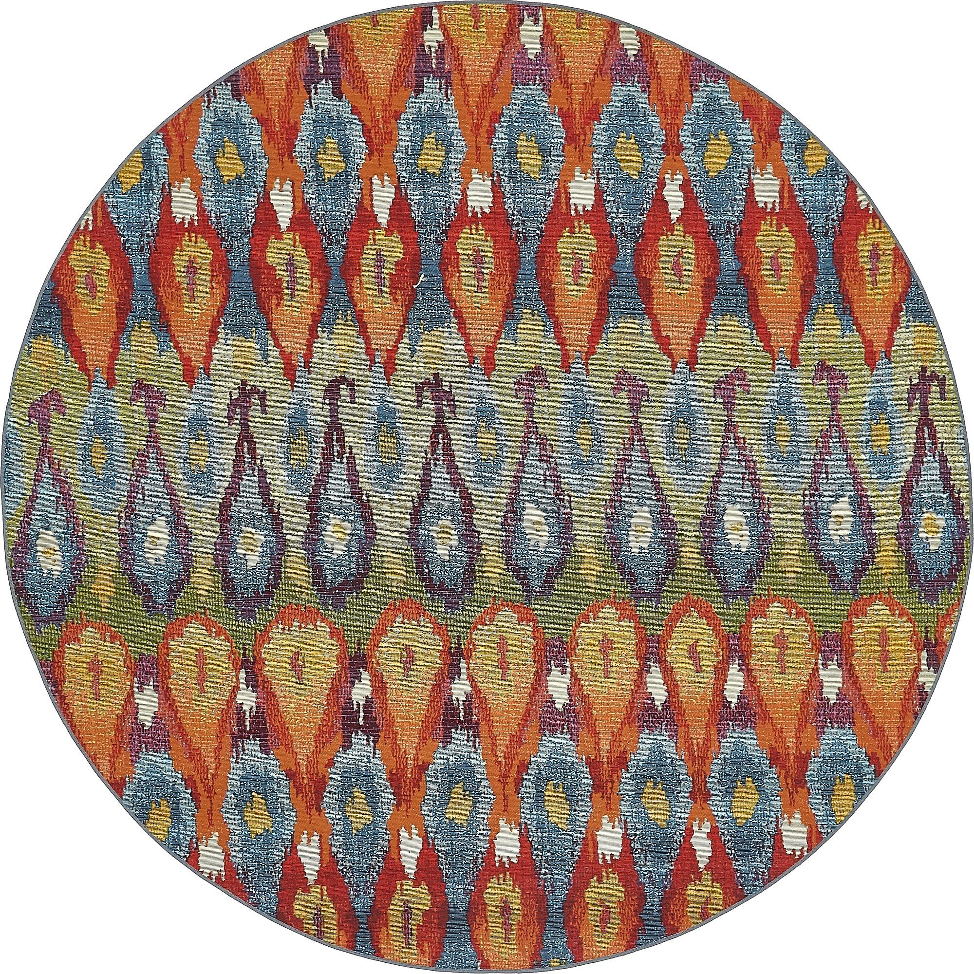 Unique Loom Eden Outdoor Collection Multi 8 ft Round Area Rug (8' x 8') by Unique Loom