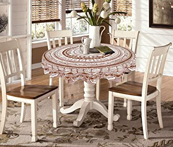 Buy Miyanbazaz Textiles Cotton Contemporary Round Dining Table Cover Brown Online At Low Prices In India Amazon In