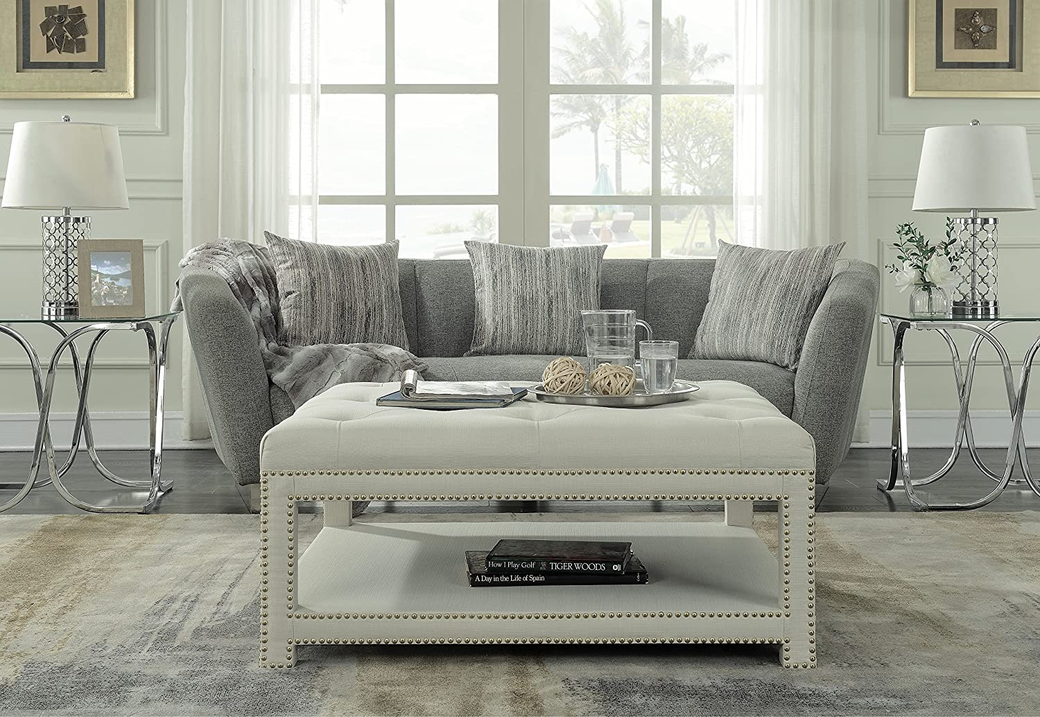 iconic home bina coffee table ottoman 2 layer polished nailhead tufted linen bench modern transitional beige