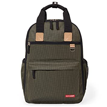 ed81ff04960e53 Skip Hop Diaper Bag Backpack with Matching Changing Pad, Duo Signature,  Olive Mini Grid: Amazon.ca: Baby