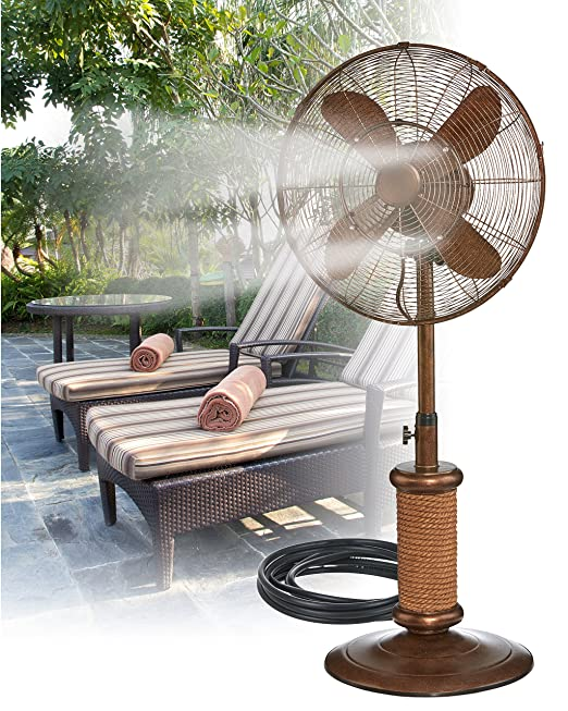 Indoor / Outdoor Misting Floor Standing Pedestal 18'' Fan - Gentle Misting Action Keeps You Cool All Summer Long