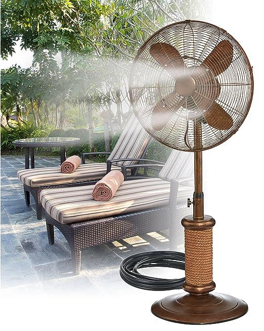 Indoor / Outdoor Misting Floor Standing Pedestal 18'' Fan - Gentle Misting Action Keeps You Cool All Summer Long