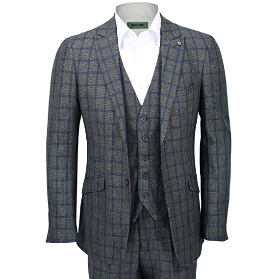 Mens 3 Piece Suit Tweed Blue Window Pane Grid Check On Grey Vintage