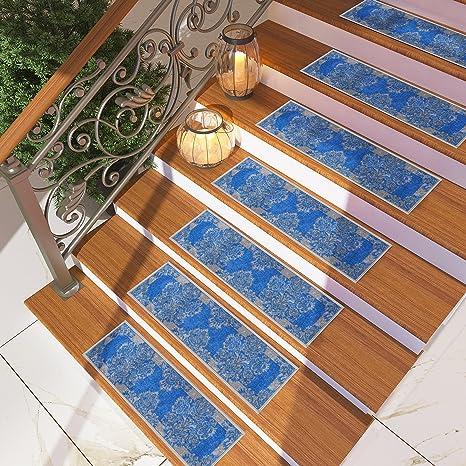 [Set Of 7] Blue Meander Ornament Tread Rugs   Modern Design Carpet Treads [