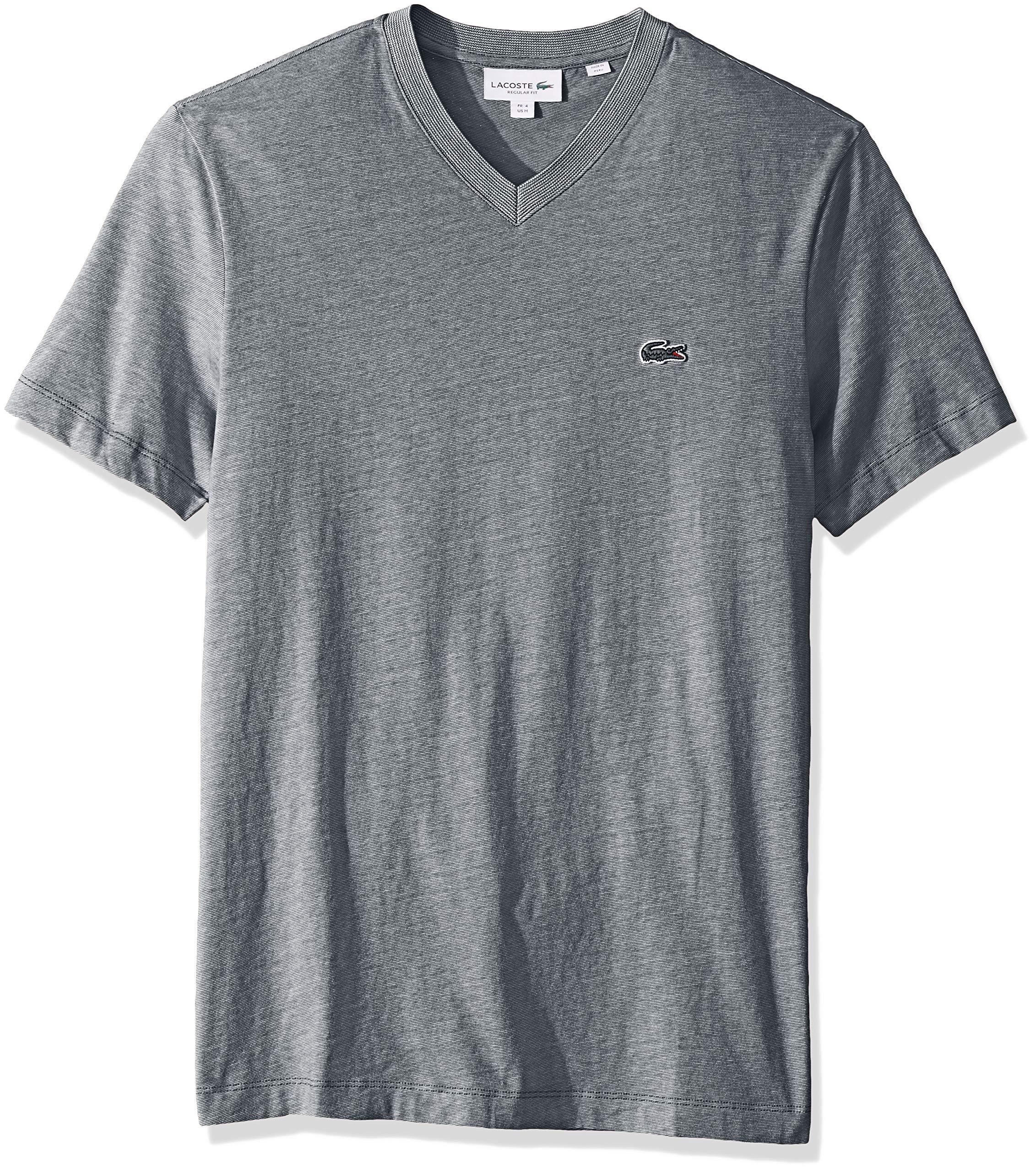 c173577b Lacoste Men's S/S Striped Jersey Raye T-Shirt Regular FIT, Navy Blue/Flour,  4X-Large