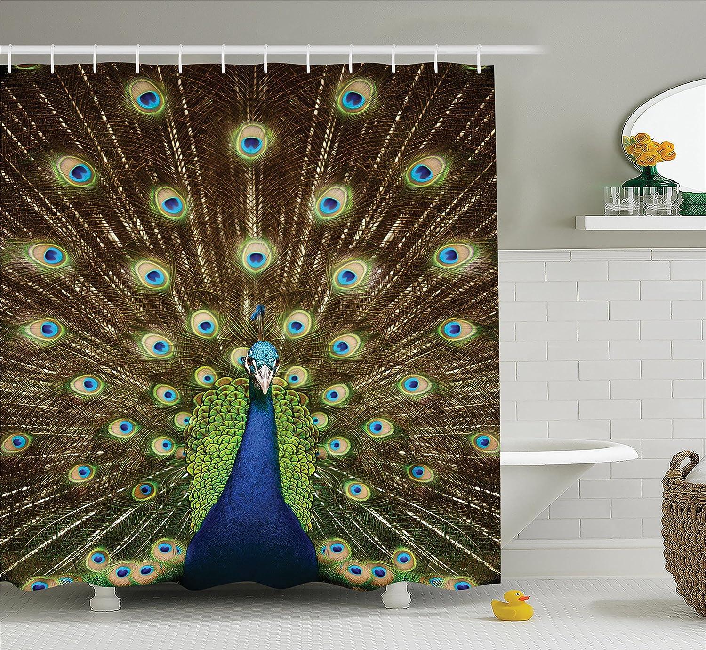 peacock shower curtain decor feathers birds fabric bathroom set