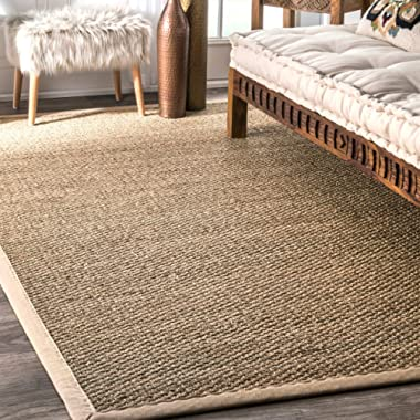 nuLOOM 200BHSG01A-9012 Seagrass Natural Area Rug, 9' x 12', Beige